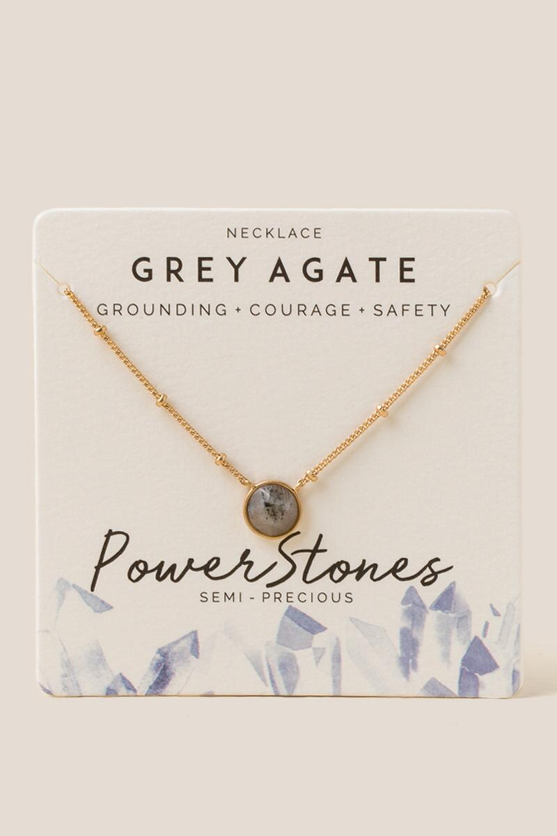 Power Stone Grey Agate Pendant Necklace-  gray-cl