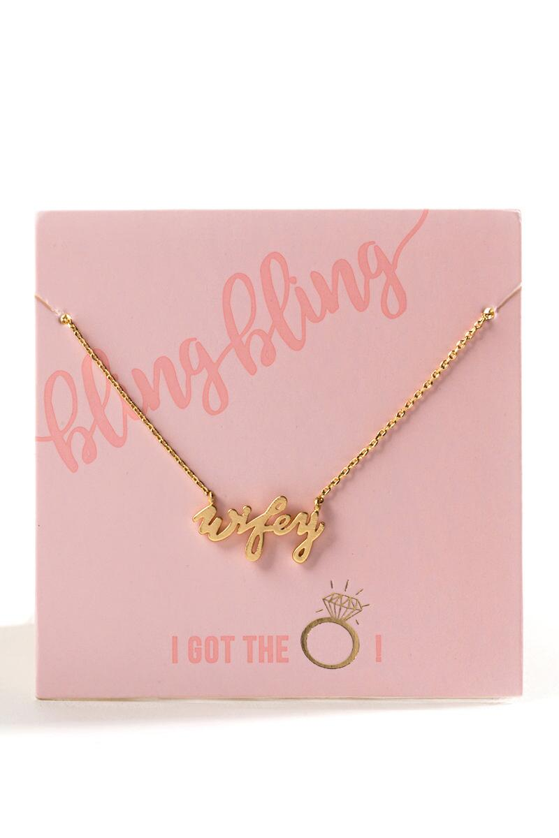 Wifey Necklace-Gold