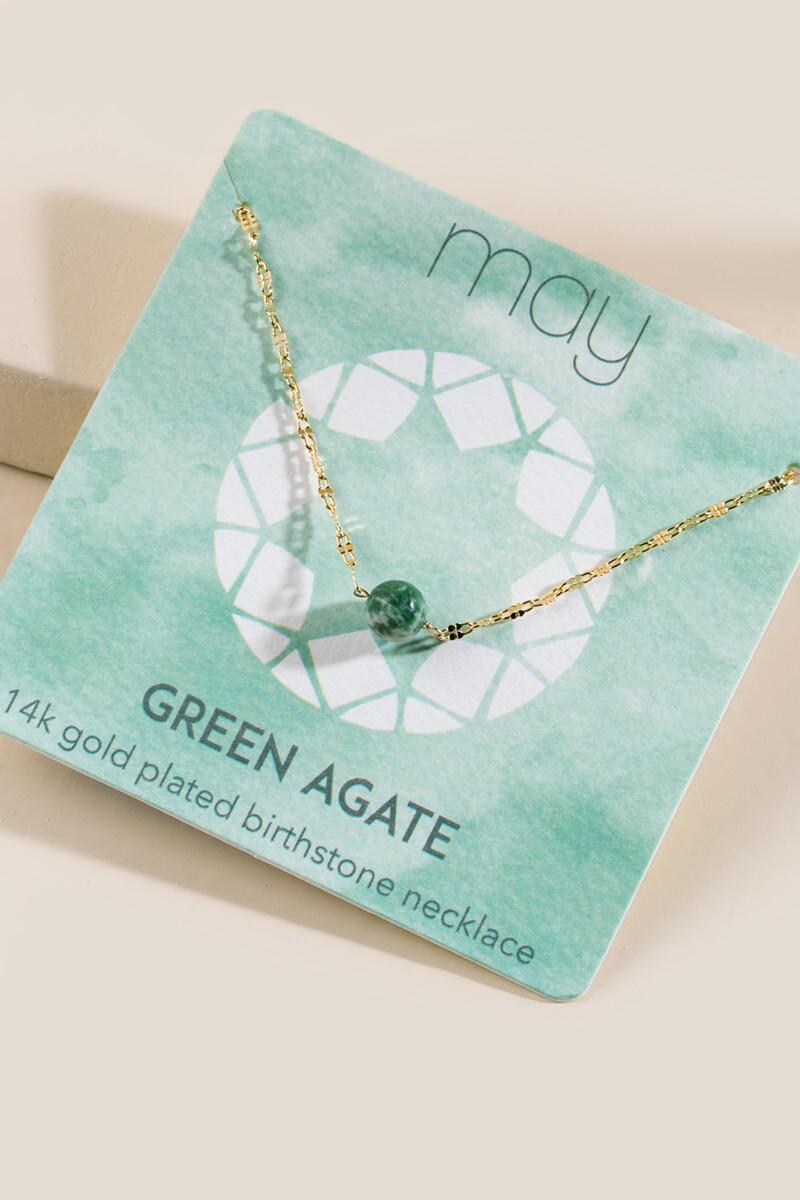 Green Agate May Pendant Necklace- Emerald