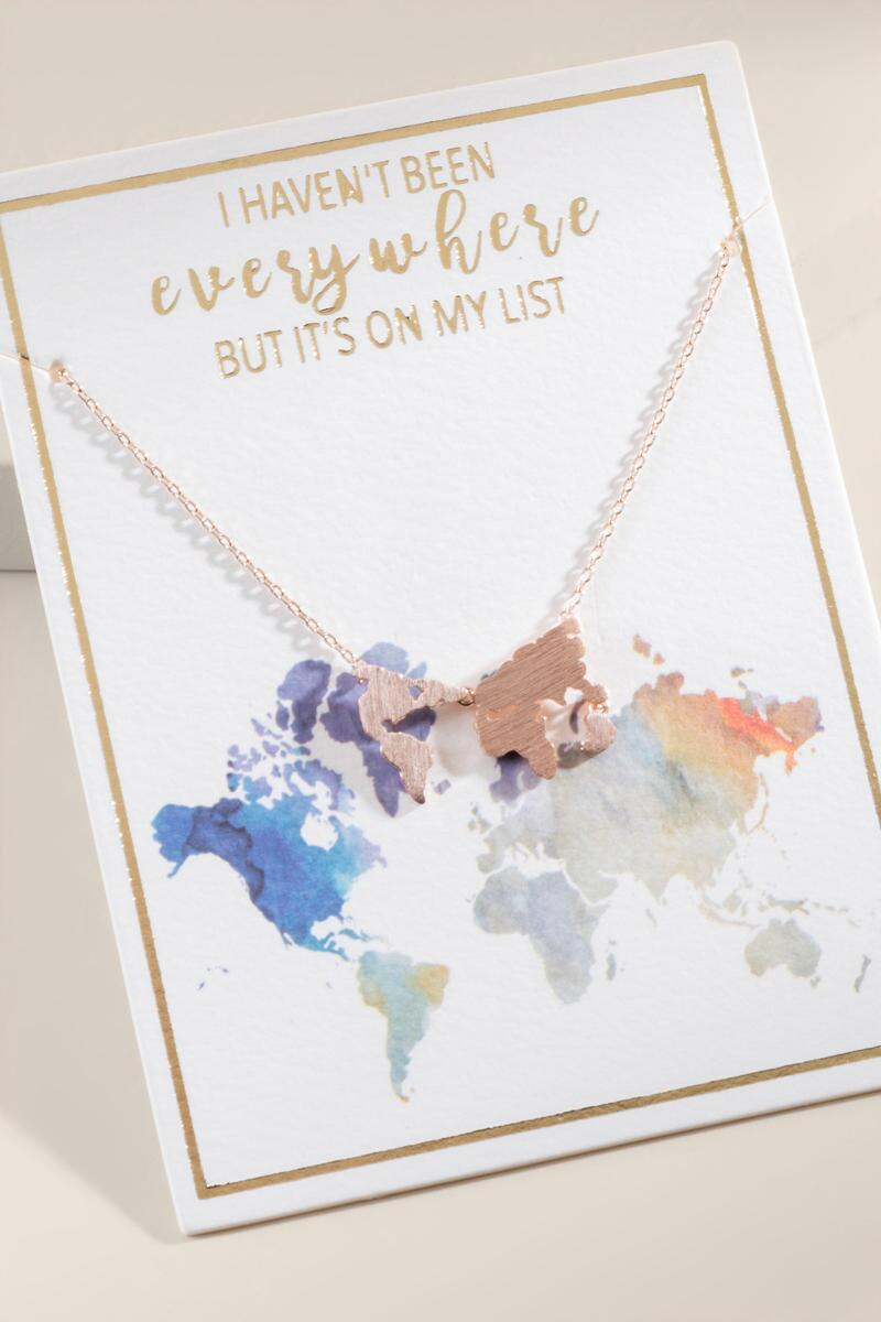 World Map Pendant Necklace in Rose Gold