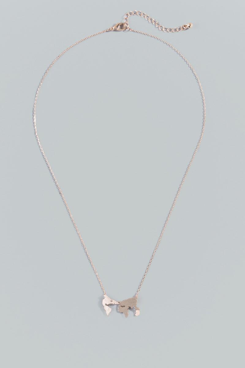 World Map Pendant Necklace in Rose Gold- Rose/Gold alternate