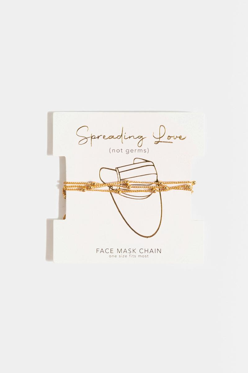 Spreading Love Face Mask Chain-  gold-cl
