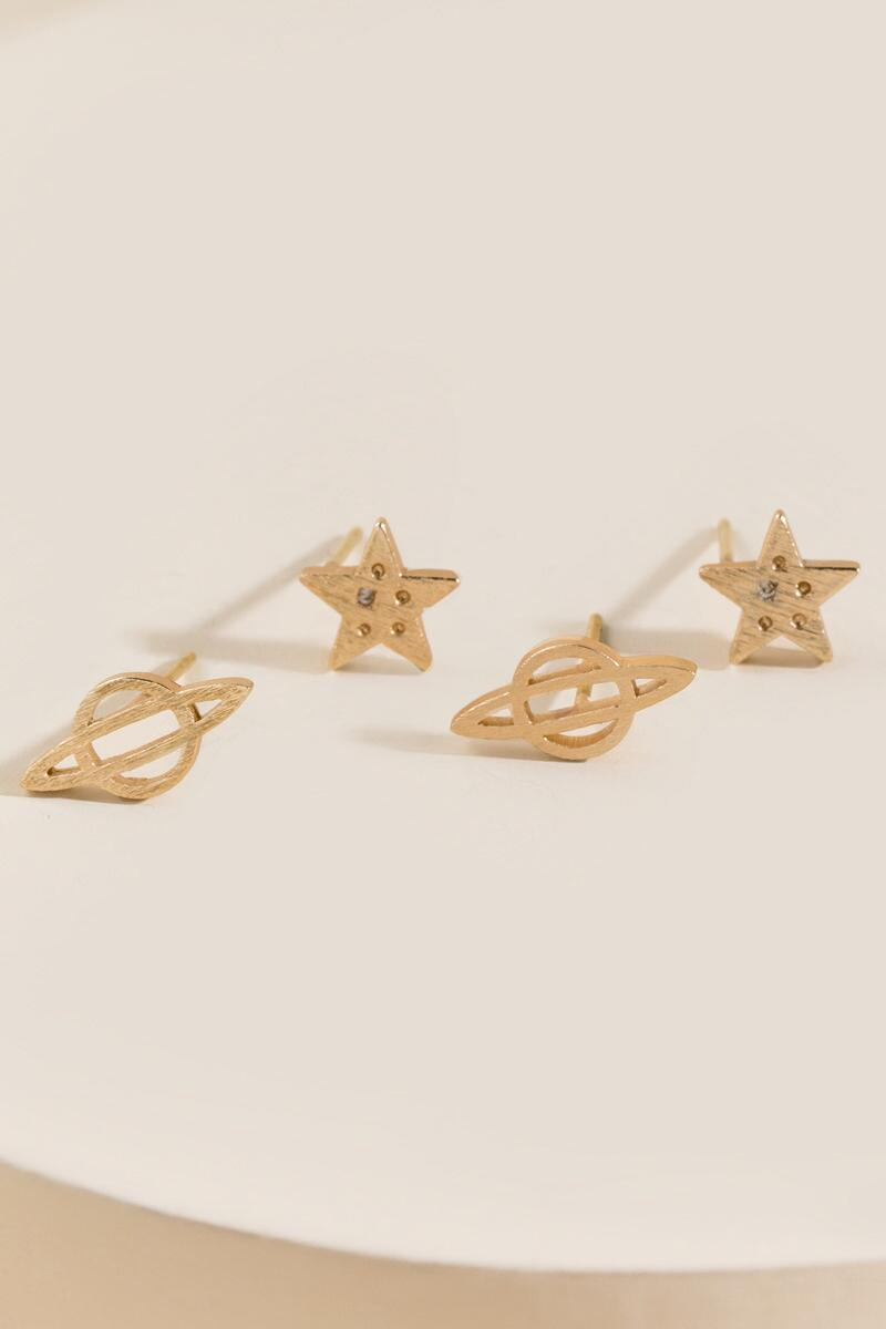 Erin Planet and Star Stud Earring Set