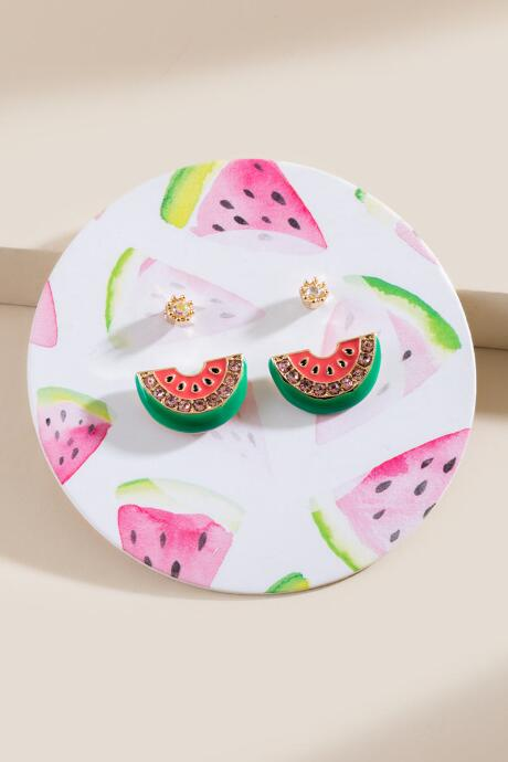 Watermelon Stud Earring Set
