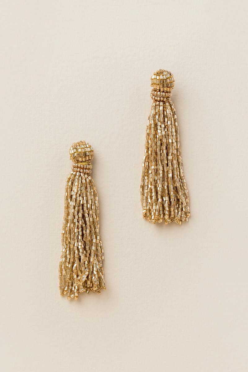 Jillian Seedbead Tassel Earrings In Gold