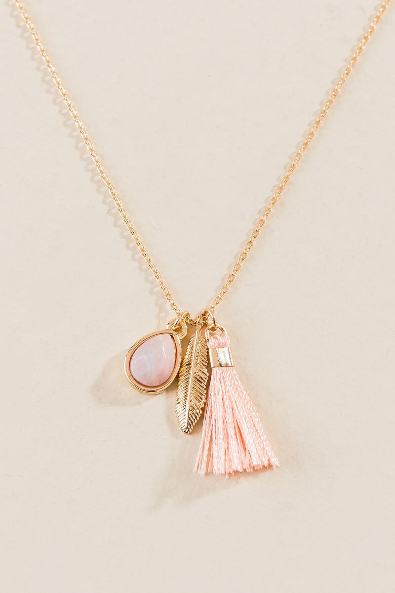 Elisa Delicate Charm Necklace-  ppink-cl