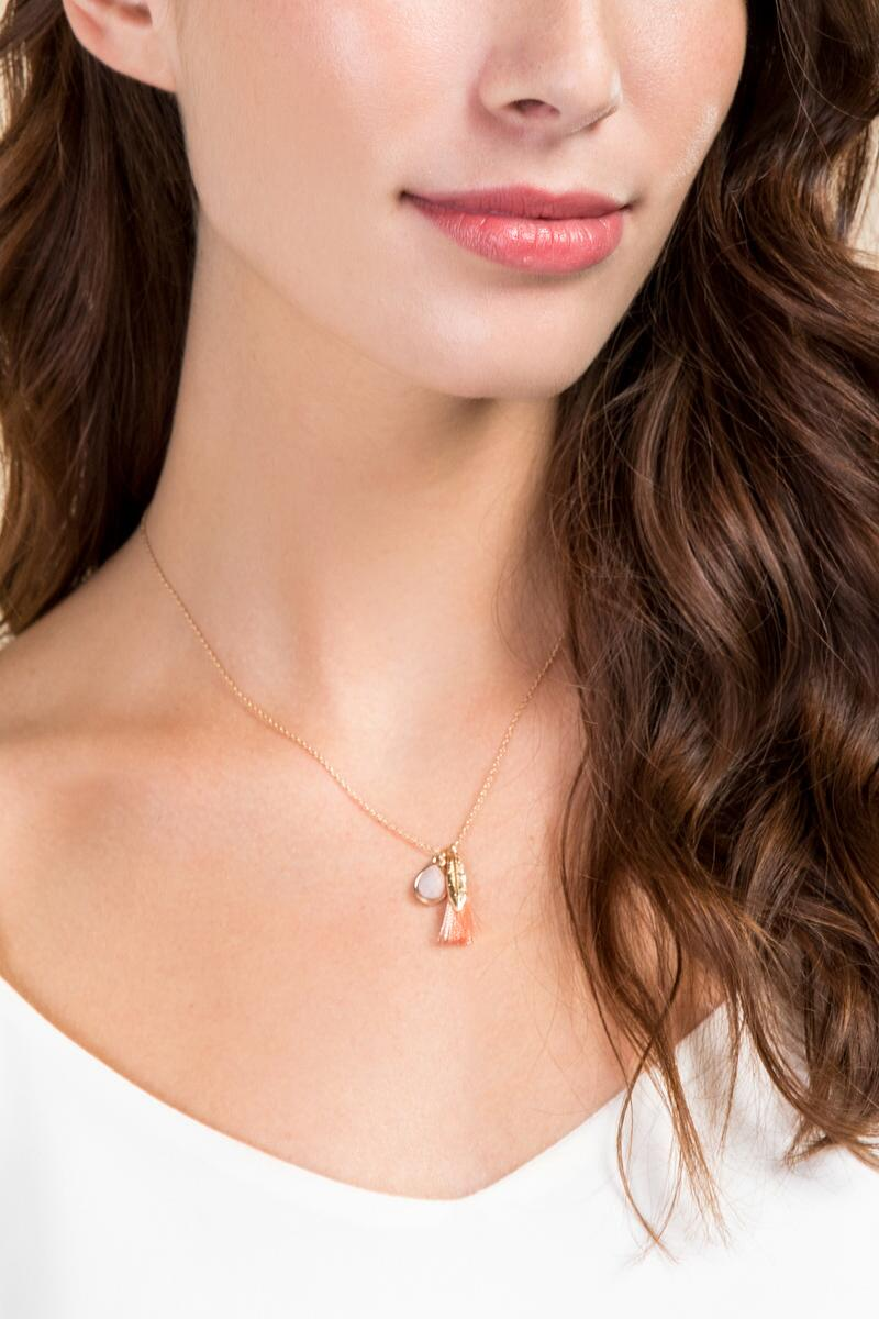 Elisa Delicate Charm Necklace-  ppink-clmodel