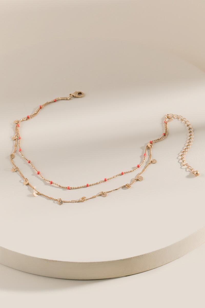 Morgan Layered Coin Necklace-  neonc-cl