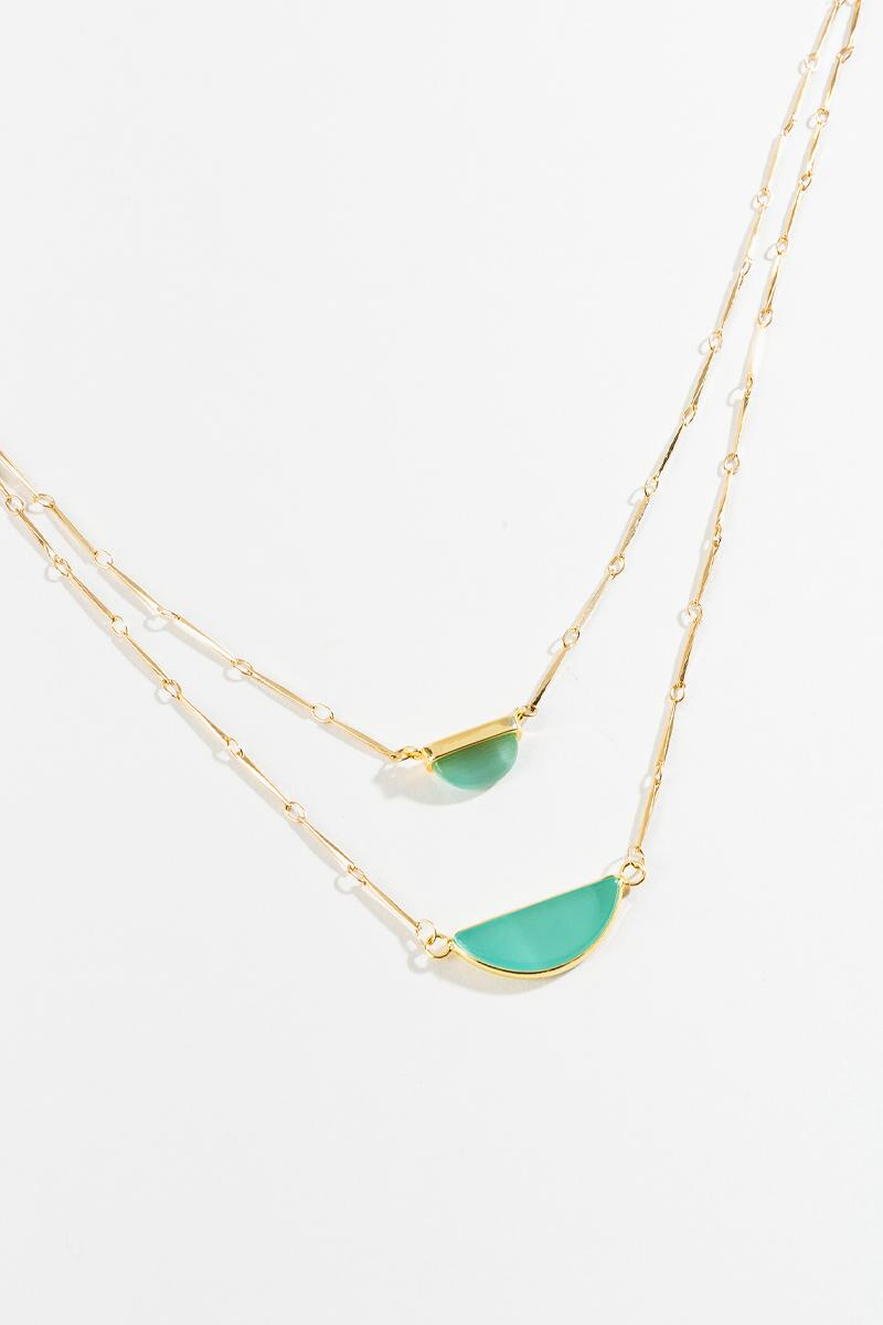 Adrian Layered Stone Necklace-  mint-cl