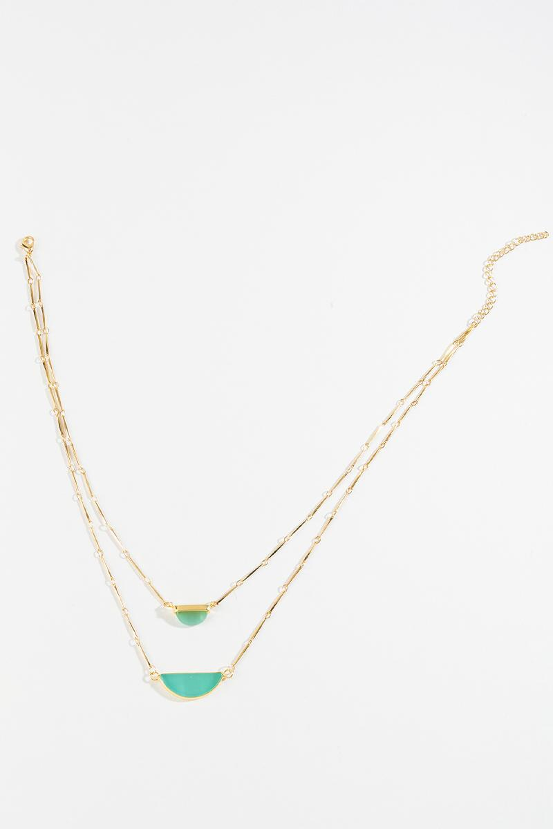 Adrian Layered Stone Necklace-  mint-cl3