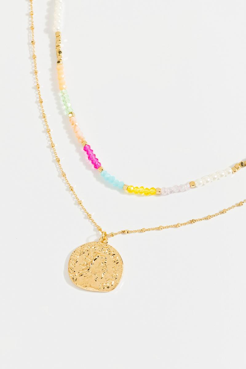 Elaine Coin Layered Necklace- Multi