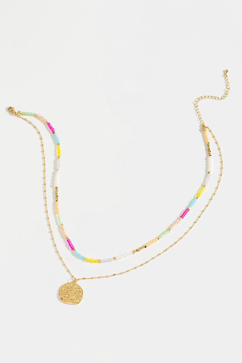 Elaine Coin Layered Necklace- Multi 3