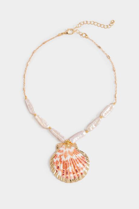 Alina Freshwater Pearl Seashell Pendant Necklace - Peach