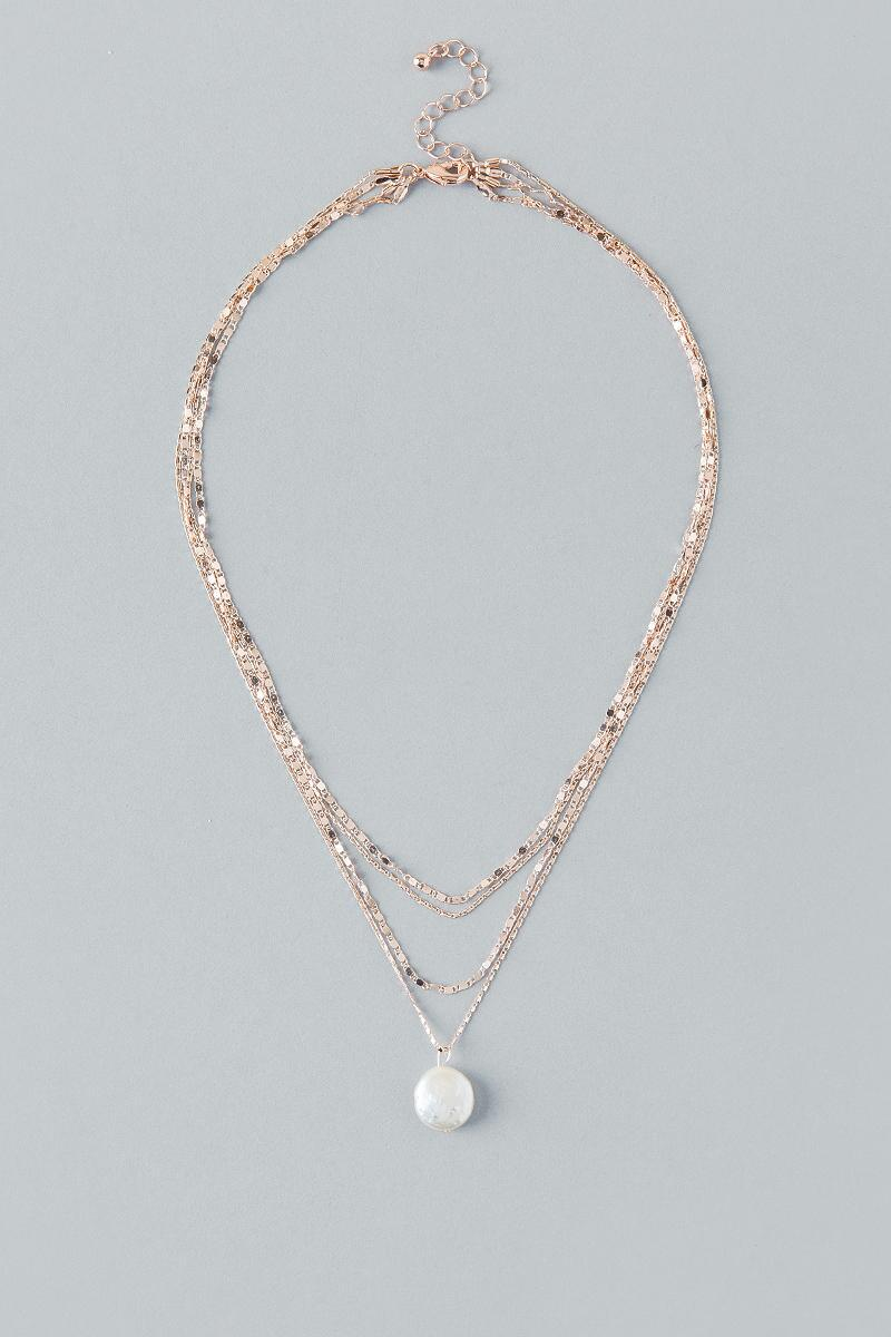 Elysia Layered Pearl Necklace in Rose Gold