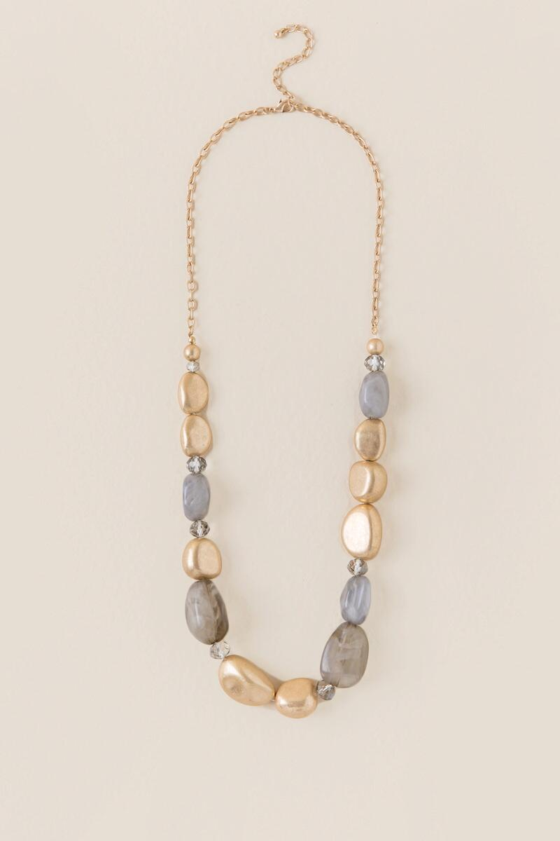 Taliyah Beaded Strand Necklace-  gray-cl