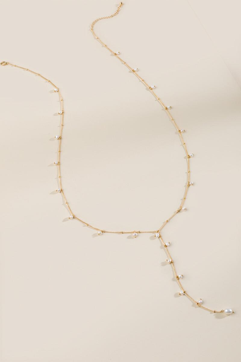 Taylor Freshwater Pearl Y Necklace- Pearl