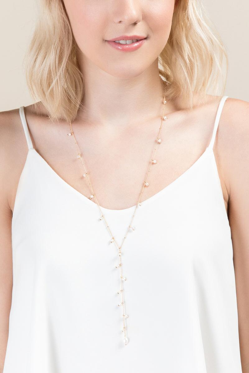 Taylor Freshwater Pearl Y Necklace- Pearl model