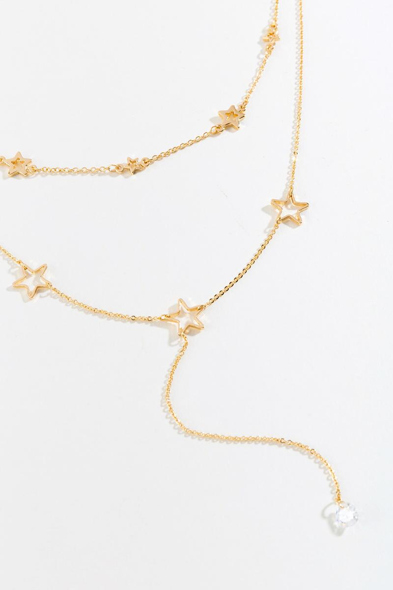 Reva CZ Star Layered Y Necklace- Gold