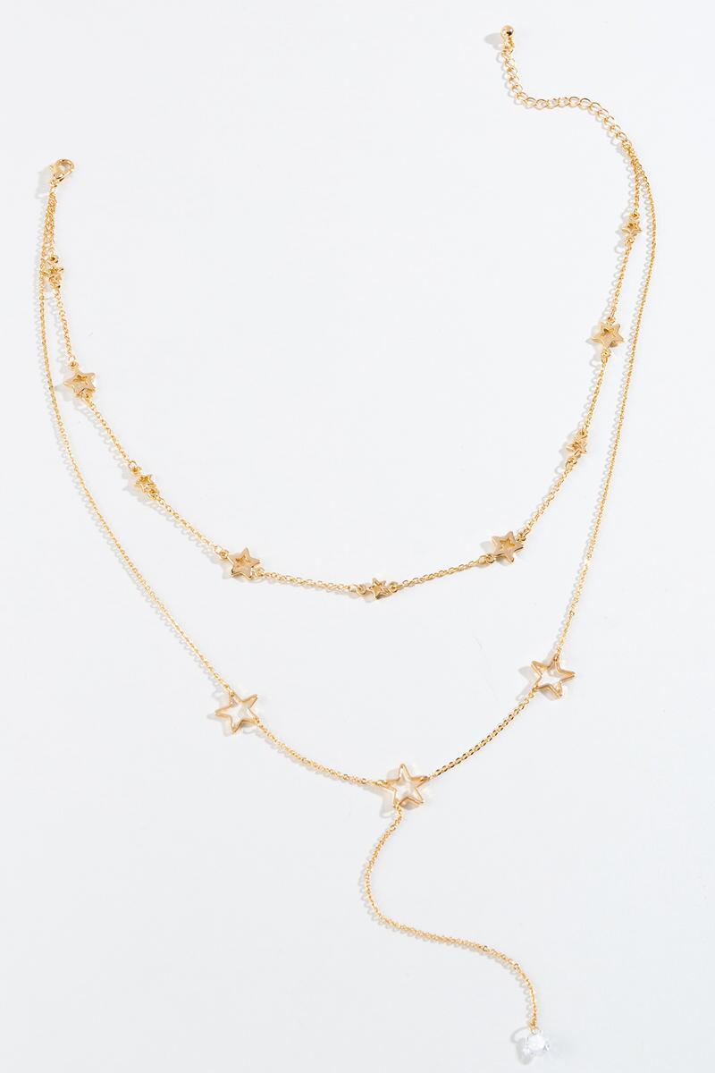 Reva CZ Star Layered Y Necklace- Gold 3