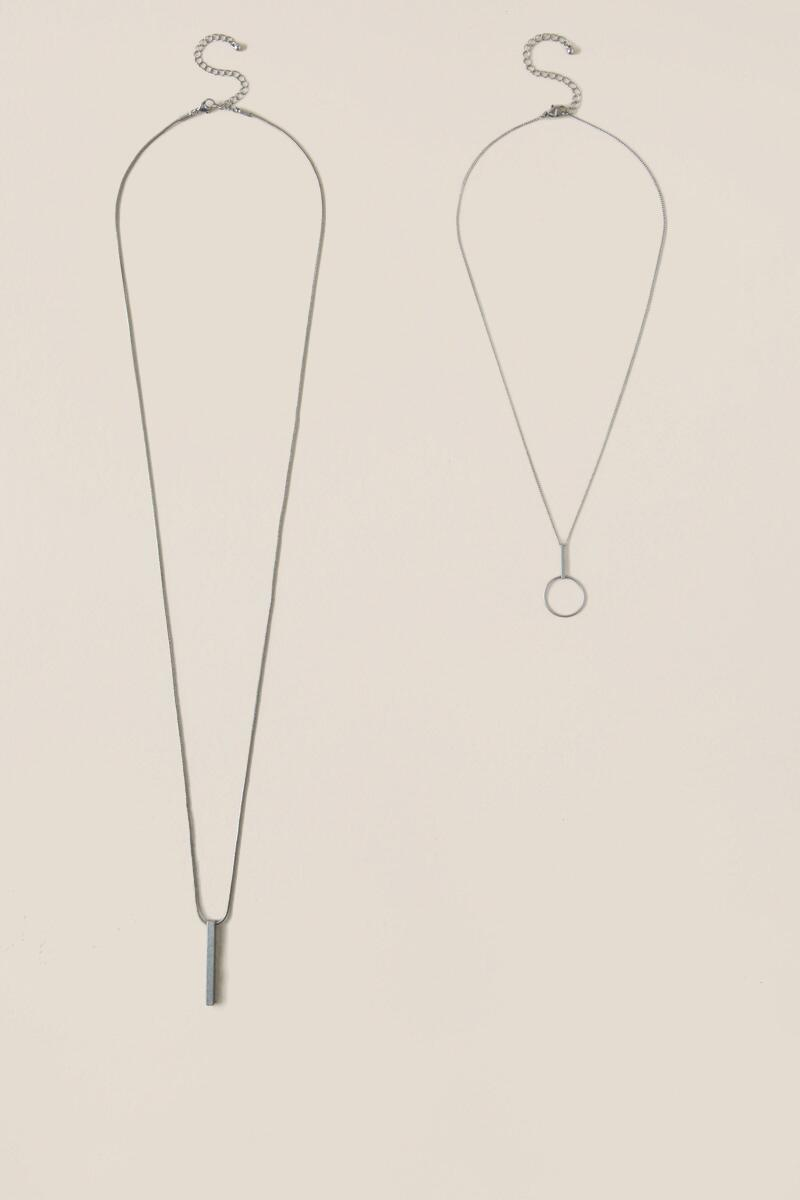 Ophelia Double Layer Necklace in Silver-  silv-clalternate
