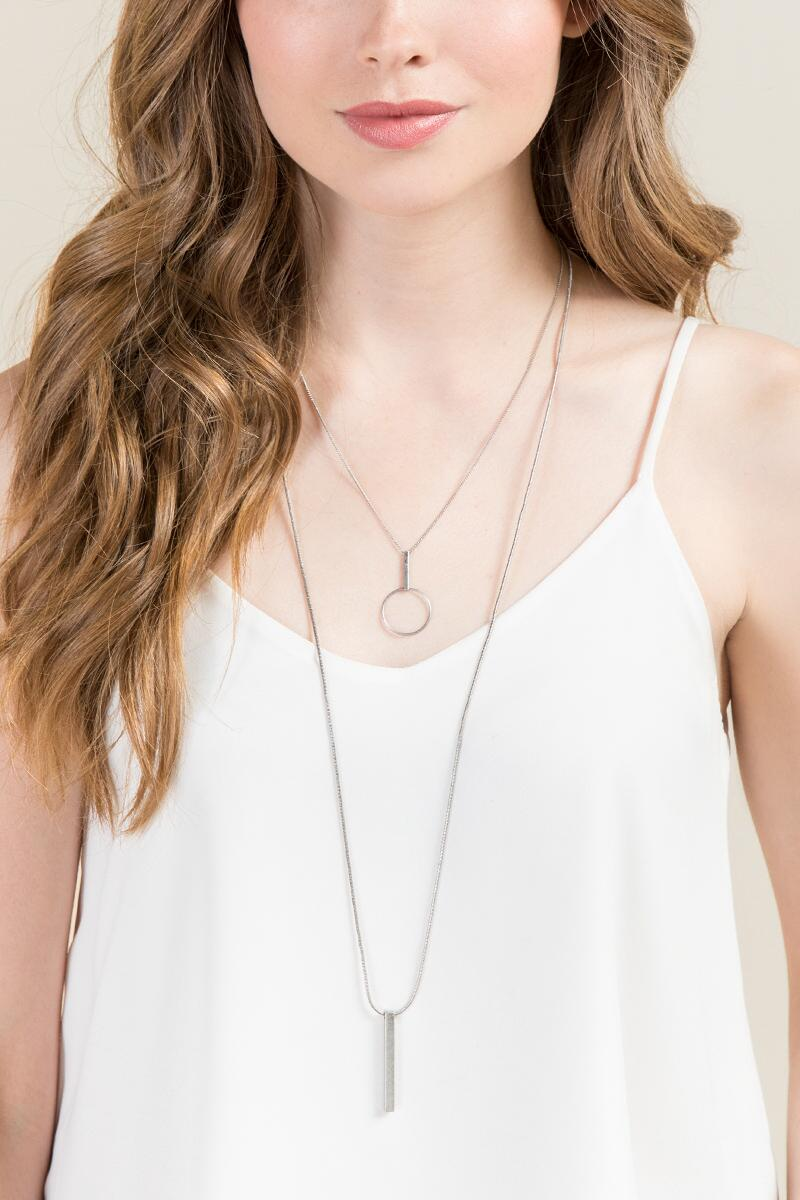 Ophelia Double Layer Necklace in Silver-  silv-clmodel