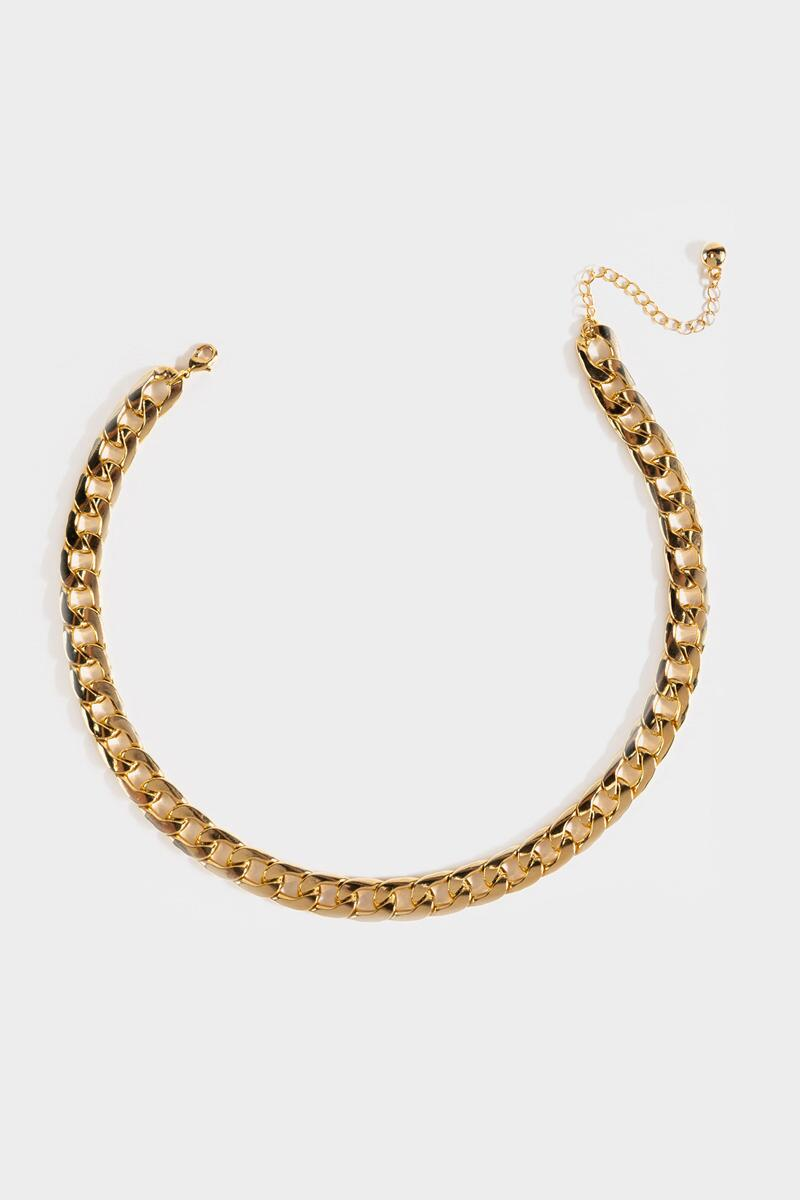 Iris Linked Curb Chain Necklace- Gold 3