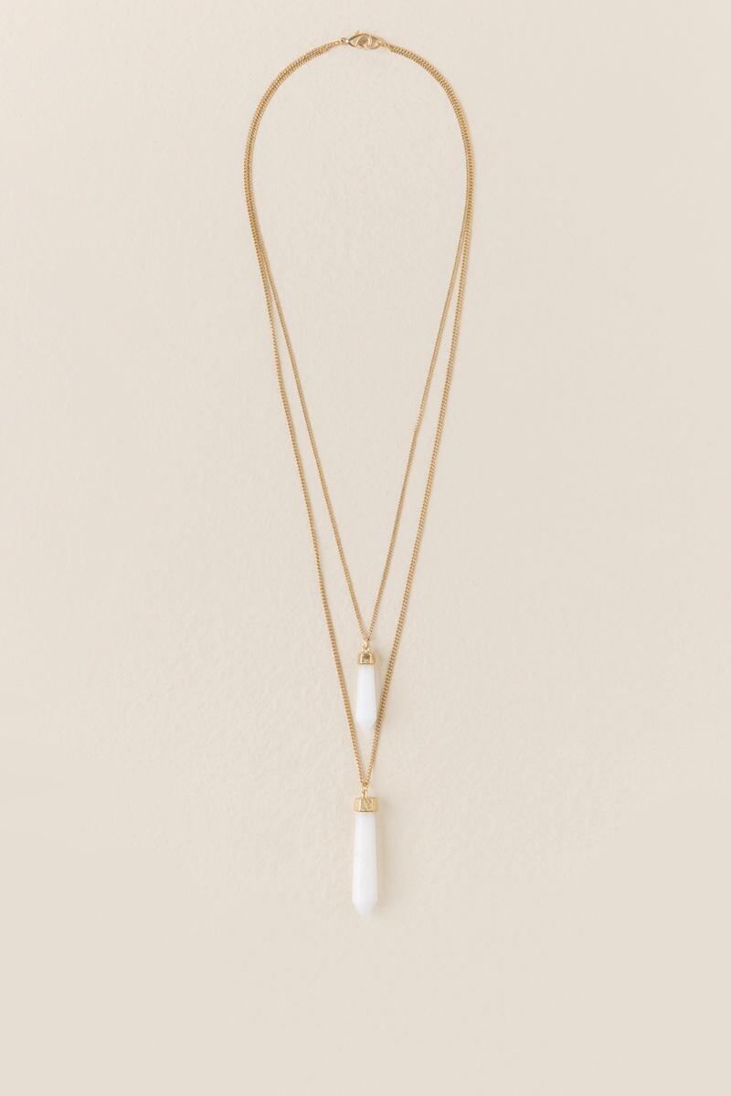 Emillia Layered Pendant Necklace in White