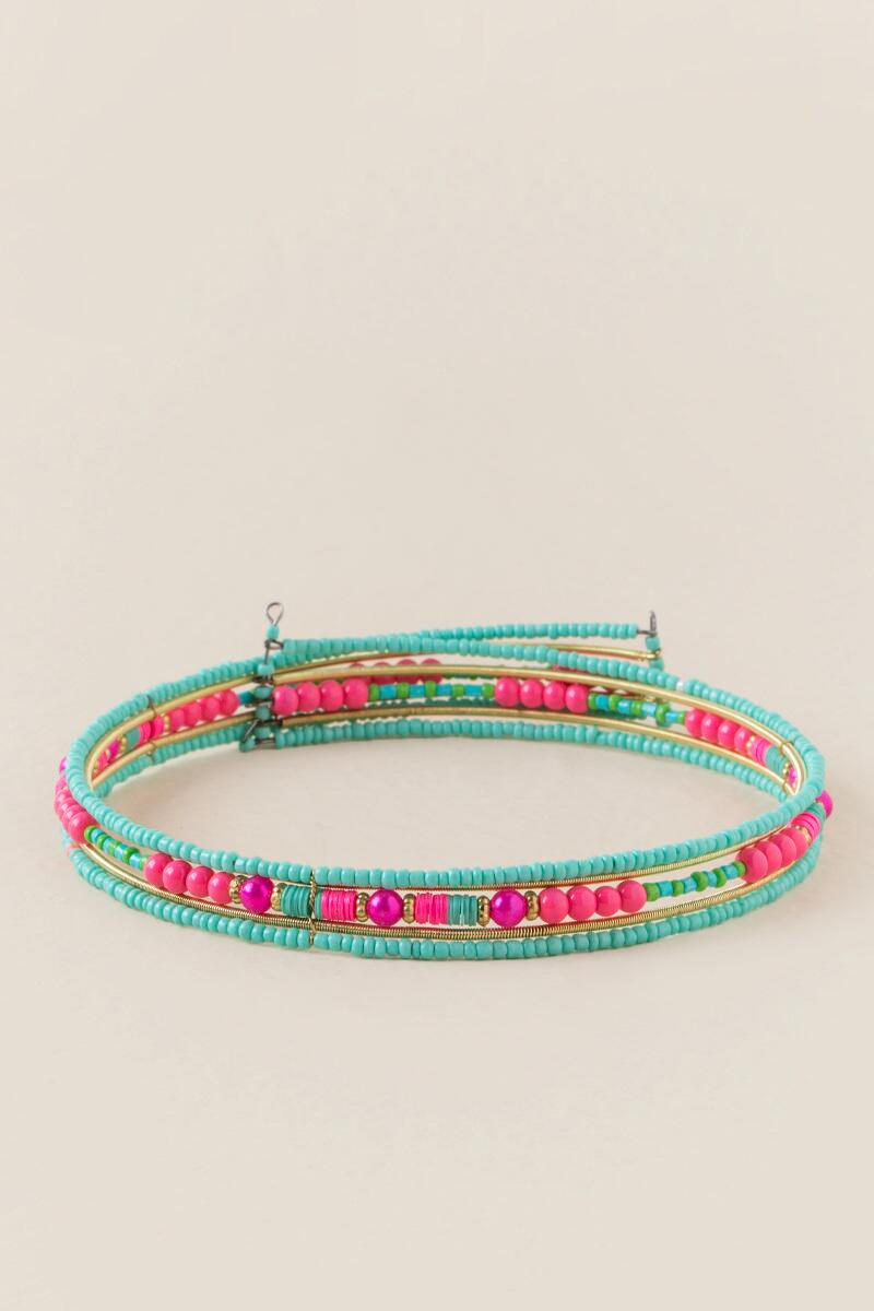 Tess Beaded Coil Choker in Turquoise-  turq-clalternate2