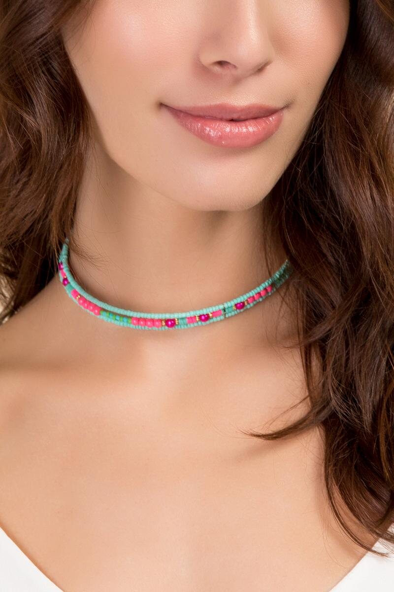 Tess Beaded Coil Choker in Turquoise-  turq-clmodel