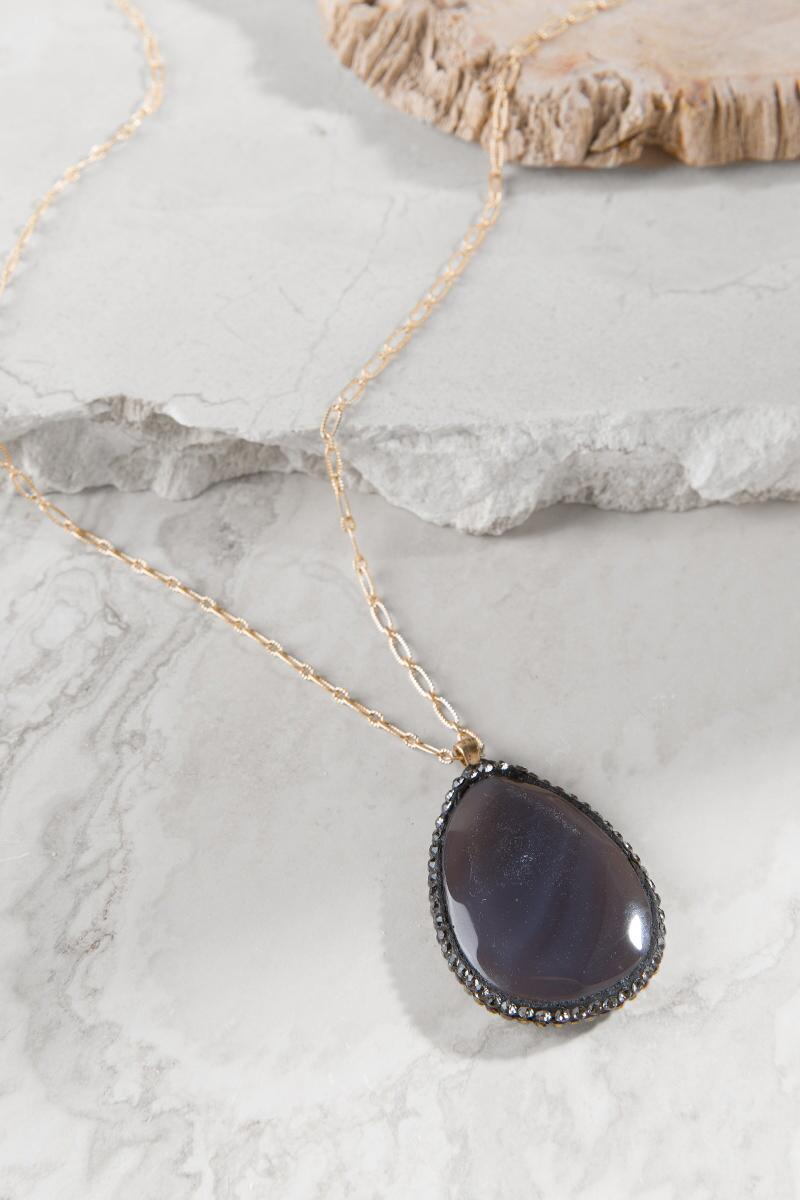 Luxe Collection Sliced Agate with Pavé Necklace-  gray-cl