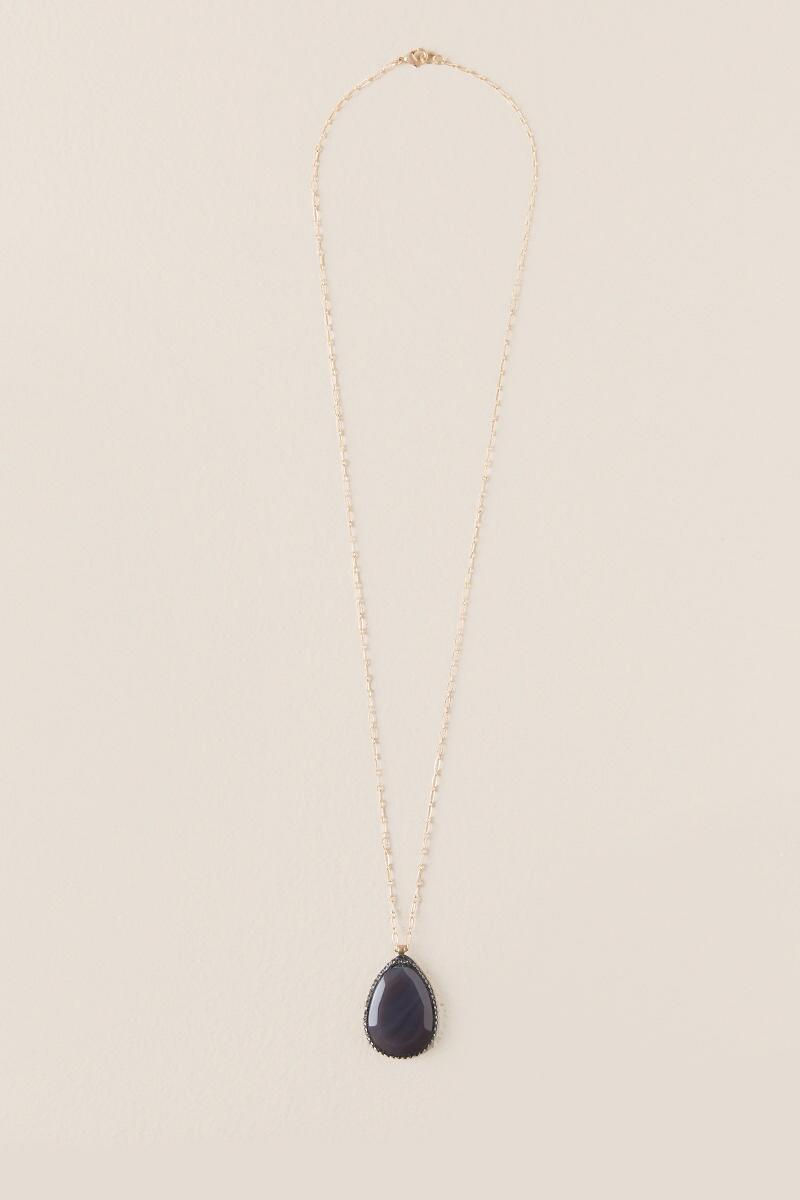 Luxe Collection Sliced Agate with Pavé Necklace-  gray-clalternate