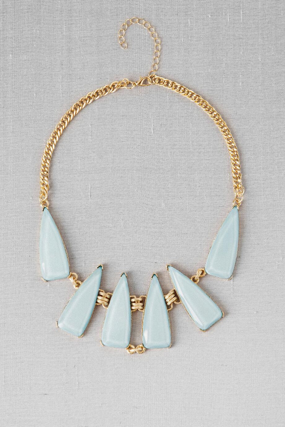 Salzburg Geometric Statement Necklace in Light Blue
