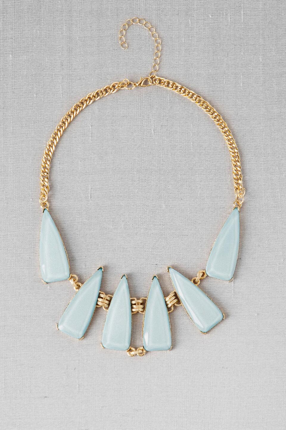 Salzburg Geometric Statement Necklace in Light Blue-  ltblu-cl