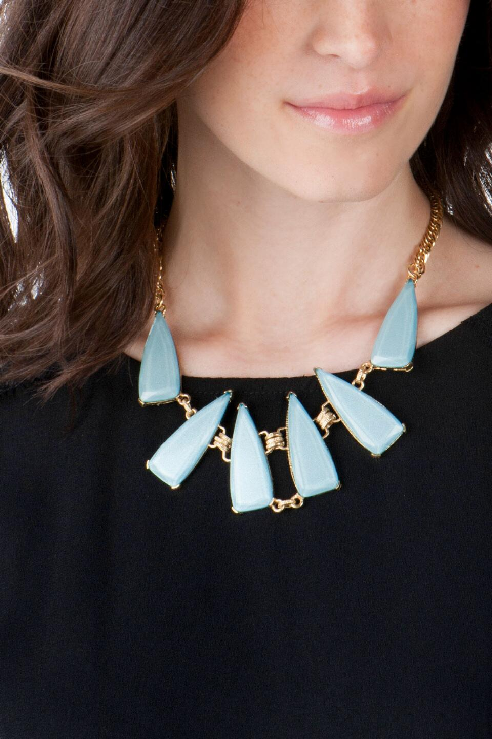 Salzburg Geometric Statement Necklace in Light Blue-  ltblu-clmodel