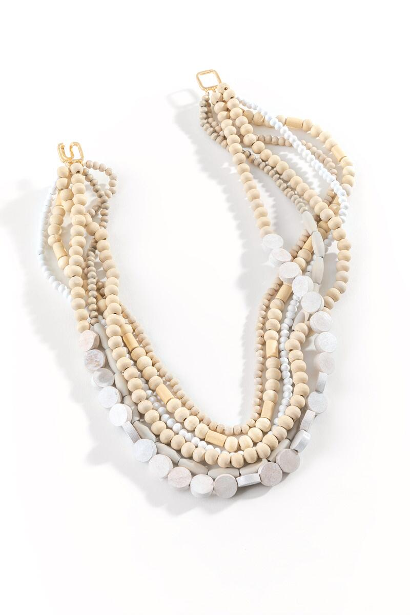 Marcie Wood Beaded Multi-Strand Necklace-  nat-cl