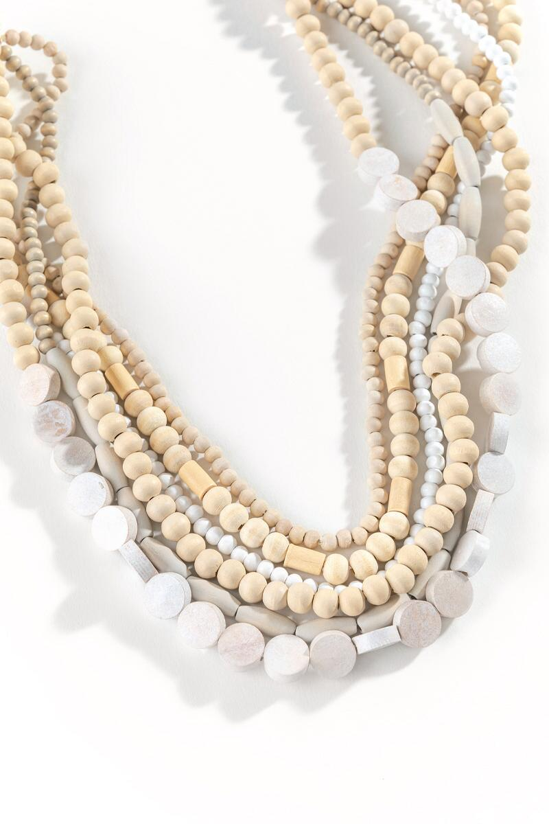Marcie Wood Beaded Multi-Strand Necklace-  nat-cl2