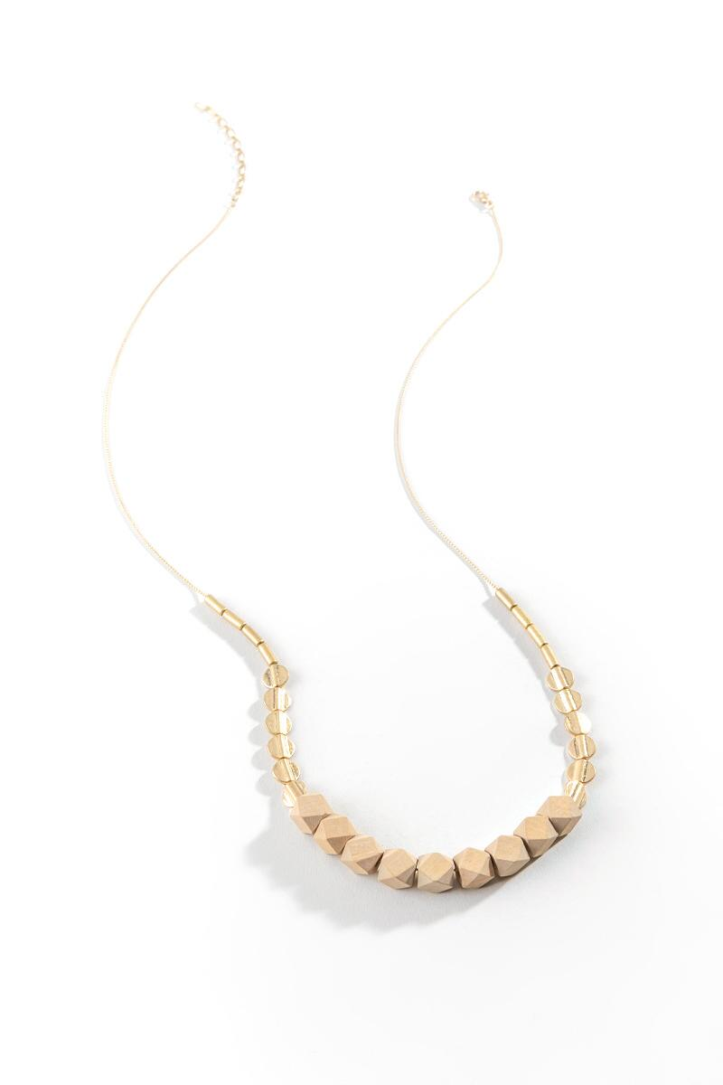 Neima Wooden Geo Bead Necklace- Natural