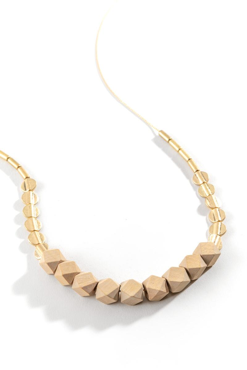 Neima Wooden Geo Bead Necklace- Natural 2