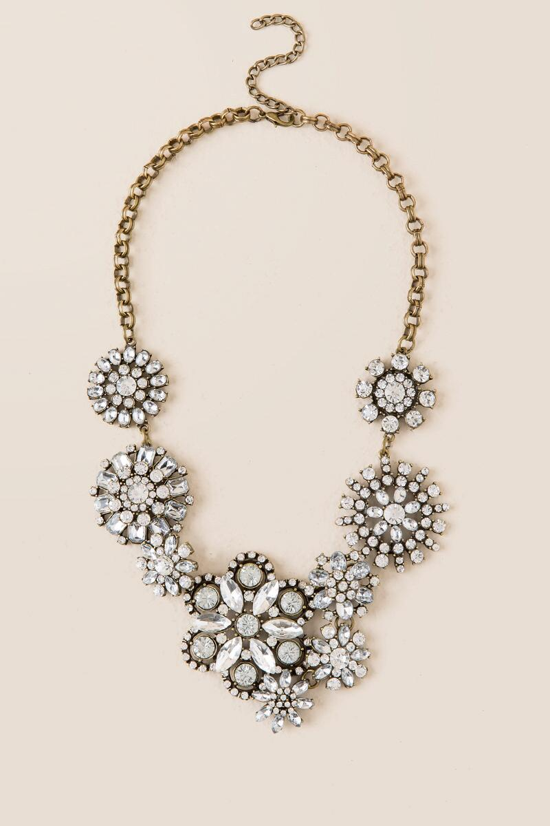 Acacia Crystal Floral Statement Necklace