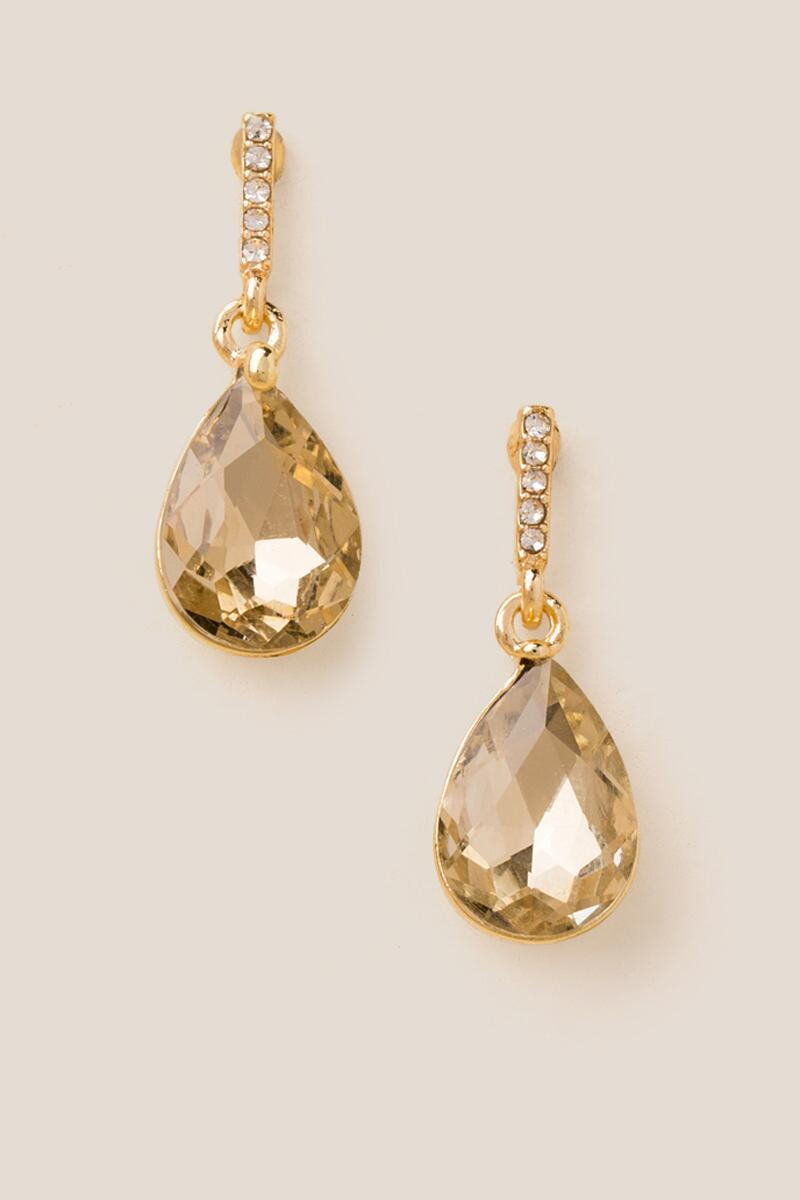 Hyacinth Crystal Glass Teardrop Earrings-  cham-cl