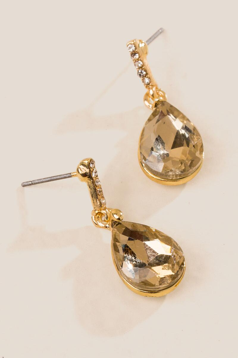 Hyacinth Crystal Glass Teardrop Earrings-  cham-clalternate