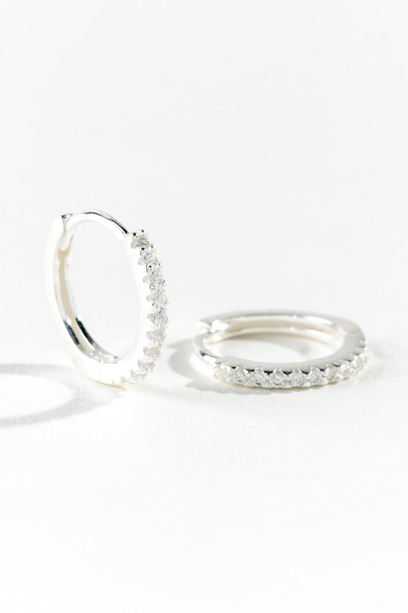 Claire Pavé Huggie Hoops-  silv-cl