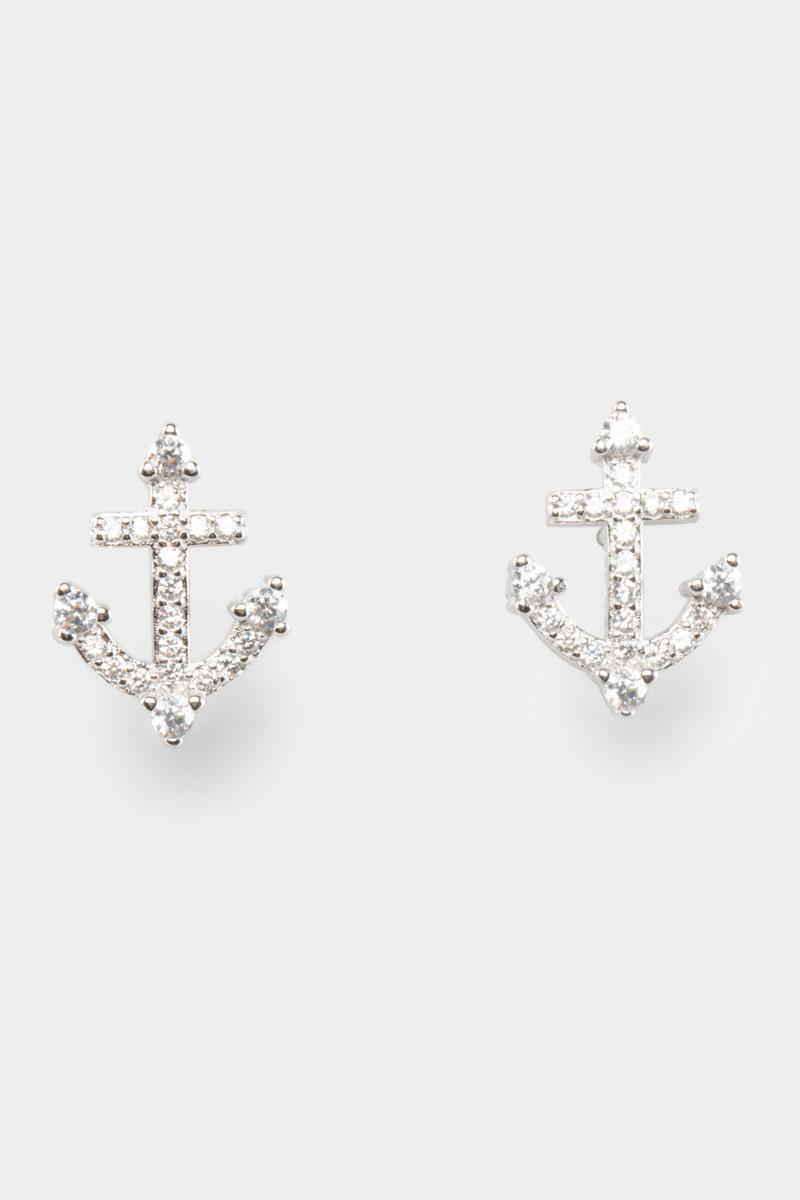 Sterling Silver Pavé Anchor Studs