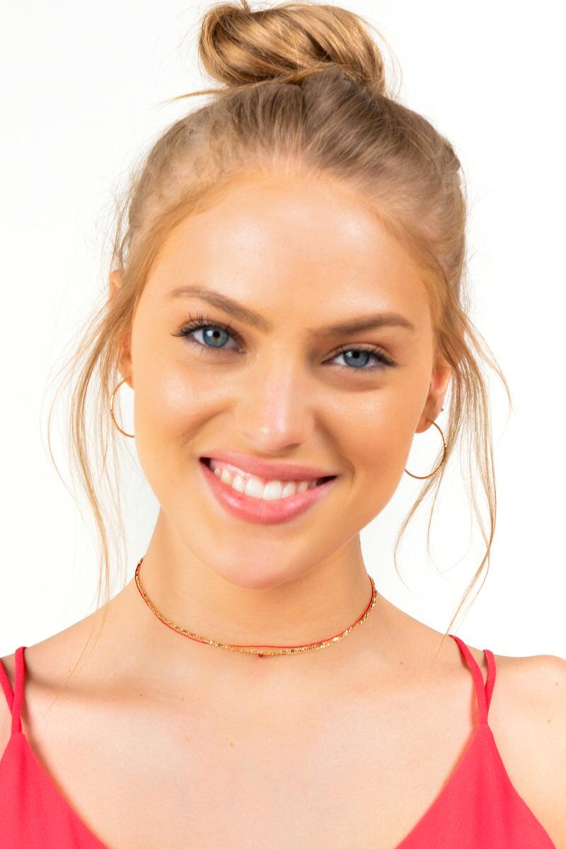 Lainey Layered Bead Drop Choker- Red 3