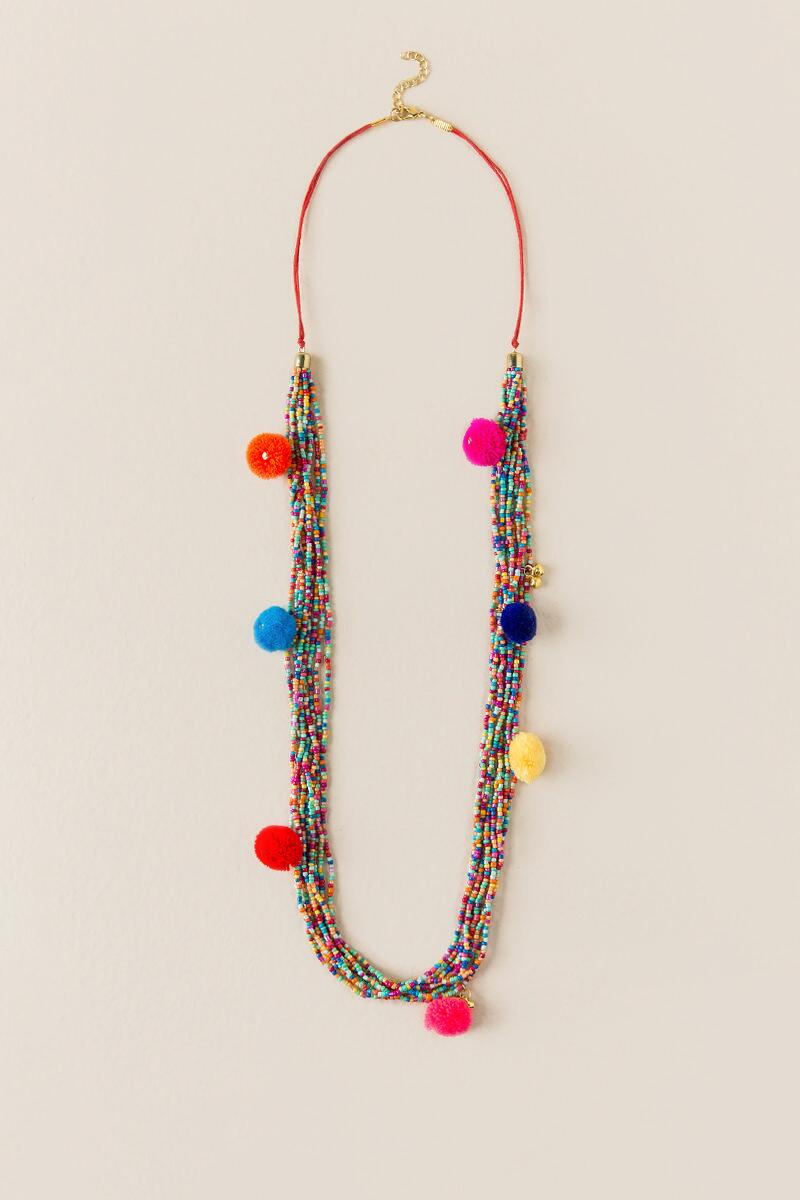 Cate Beaded Pom Necklace-  multi-cl