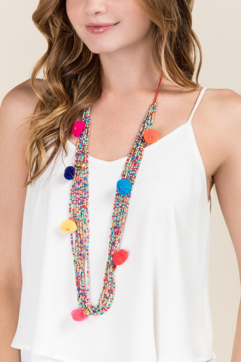 Cate Beaded Pom Necklace-  multi-clmodel