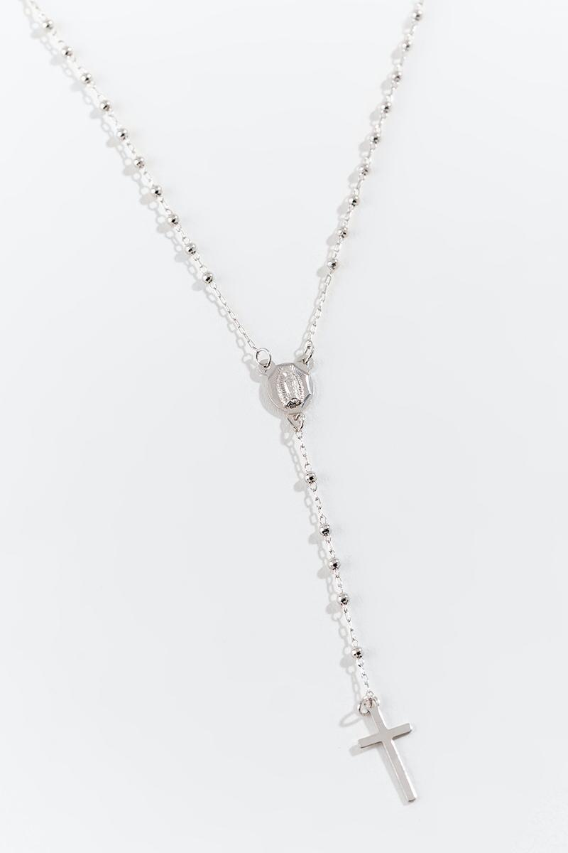 Rosary Y Necklace-  silv-cl