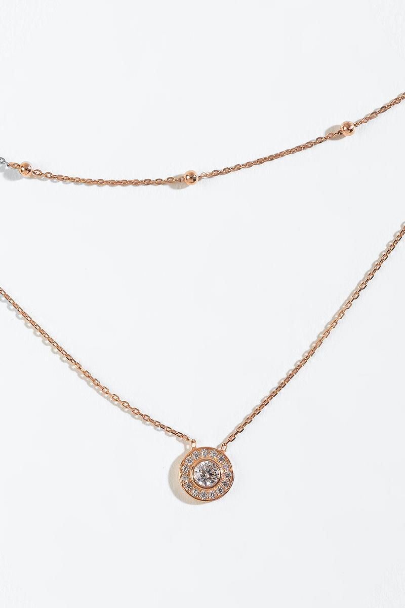 Veronica CZ Halo Station Layered Necklace