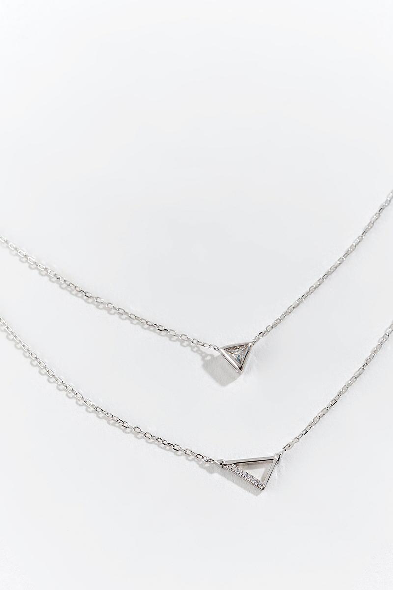 Kaylee CZ Triangle Layered Necklace- Silver