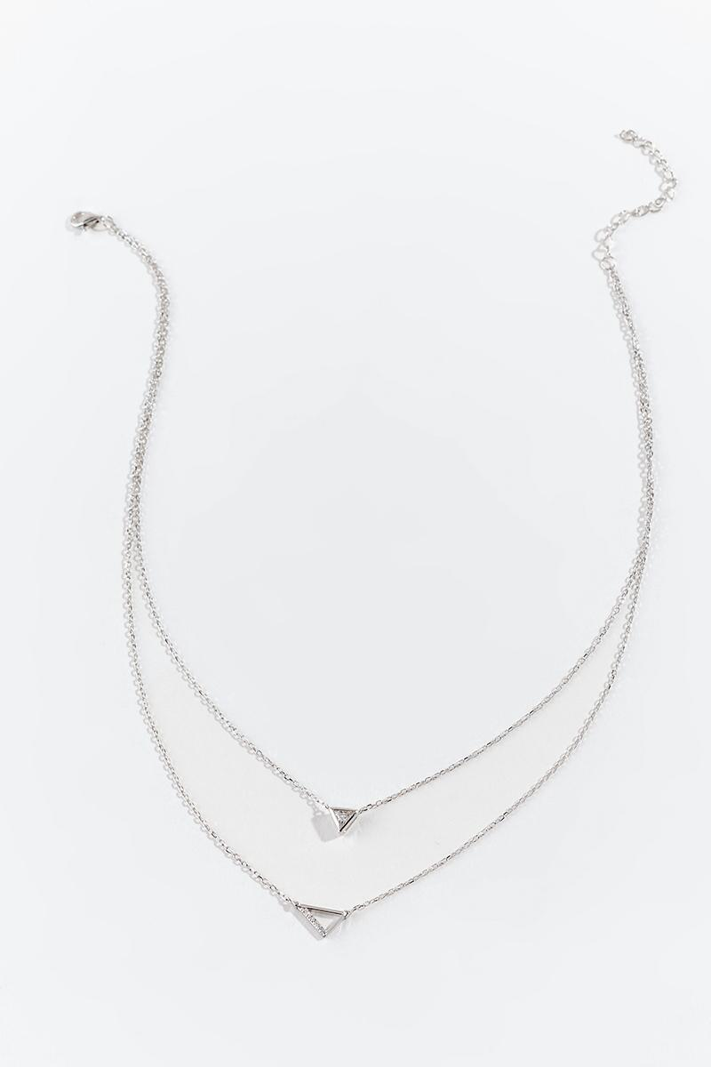 Kaylee CZ Triangle Layered Necklace- Silver 3